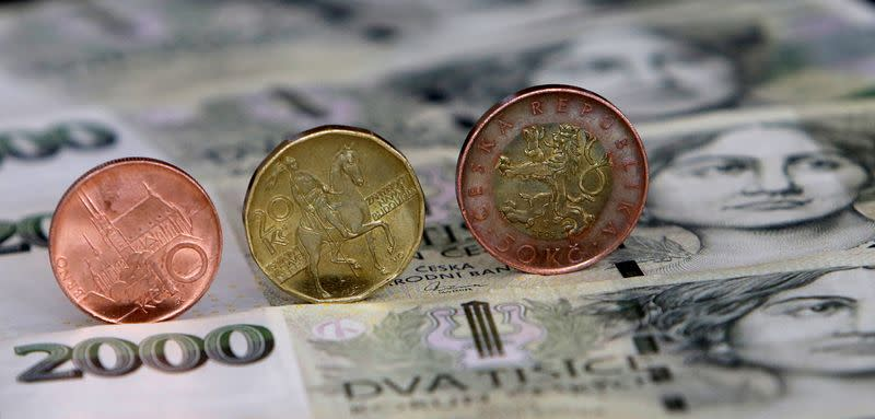 Czech Crown coins and notes are seen in this picture illustration