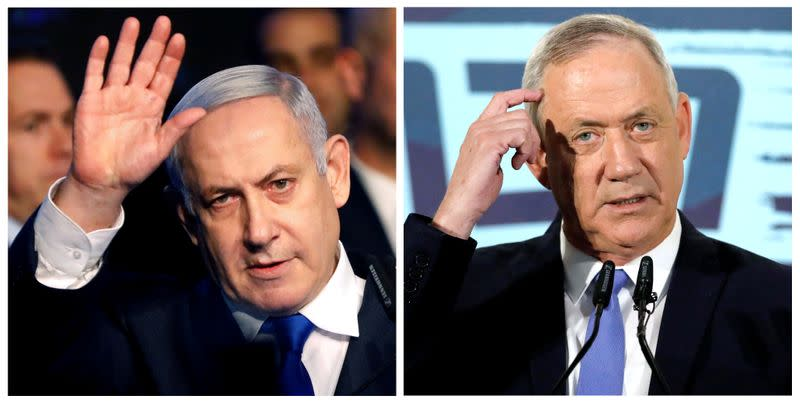 FILE PHOTO: A combination picture shows Israeli Prime Minister Benjamin Netanyahu in Tel Aviv, Israel November 17, 2019, and leader of Blue and White party Benny Gantz in Tel Aviv, Israel November 20, 2019
