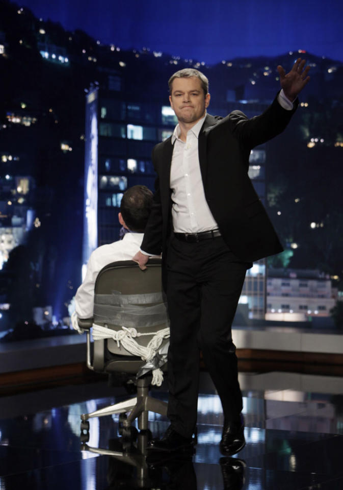 """JIMMY KIMMEL LIVE - On Thursday January 24th, Oscar winner Matt Damon exacted his revenge following a decade of torture by hijacking Kimmel's late night show and renaming it """"Jimmy Kimmel Sucks."""" Damon showed Kimmel how it's done by packing his one-evening-only late night turn with comedy and a cavalcade of A-list stars. Damon replaced Kimmel's longtime sidekick Guillermo with legendary actor Andy Garcia, his best childhood friend and bandleader Cleto with multi-Grammy winner Sheryl Crow, and packed his couch with such Hollywood notables as Nicole Kidman, Gary Oldman, Amy Adams, Reese Witherspoon and Demi Moore. Plus special guest appearances by comedians Robin Williams and Sarah Silverman. Even Ben Affleck stopped by to participate in the big night, though his allegiance was torn between childhood friend Damon and former paramour Kimmel. """"Jimmy Kimmel Live!"""" airs weeknights at 11:35/10:35c on ABC. (ABC/RANDY HOLMES)MATT DAMON"""
