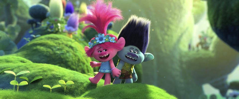 """This image released by DreamWorks Animation shows characters Branch, voiced by Justin Timberlake, right, and Poppy, voiced by Anna Kendrick in a scene from """"Trolls World Tour."""" Most new movies that were headed to theaters have been postponed due to the pandemic. But this Universal Pictures release is heading straight to on-demand and digital rental beginning Friday. (DreamWorks Animation via AP)"""