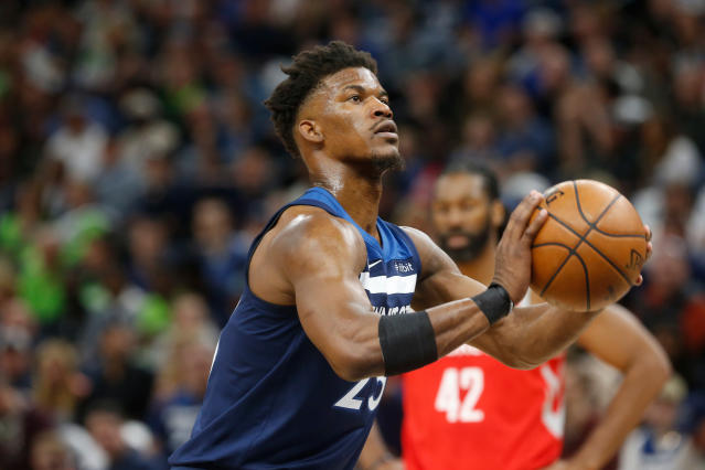 "<a class=""link rapid-noclick-resp"" href=""/nba/players/4912/"" data-ylk=""slk:Jimmy Butler"">Jimmy Butler</a> is one of the NBA's best two-way players. (AP)"