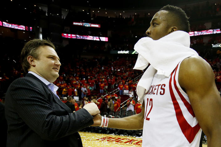 HOUSTON, TX - MAY 17: Dwight Howard #12 of the Houston Rockets celebrates with General Manager Daryl Morey after they defeated the Los Angeles Clippers 113 to 100 during Game Seven of the Western Conference Semifinals at the Toyota Center for the 2015 NBA Playoffs on May 17, 2015 in Houston, Texas. NOTE TO USER: User expressly acknowledges and agrees that, by downloading and/or using this photograph, user is consenting to the terms and conditions of the Getty Images License Agreement. (Photo by Scott Halleran/Getty Images)