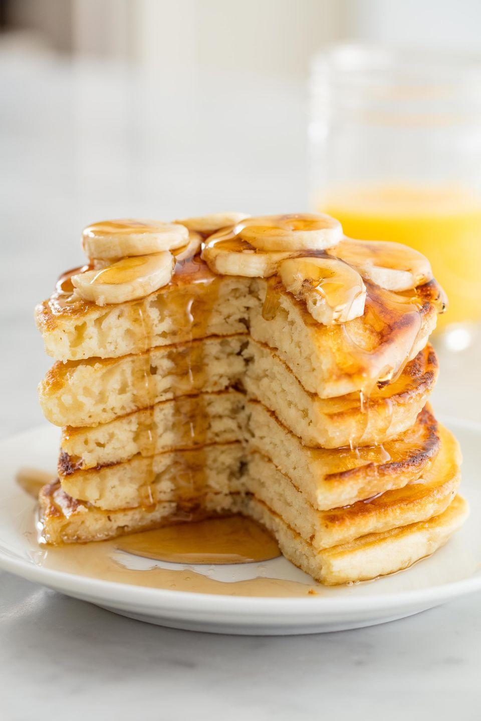 "<p>Fluffy vegan pancakes are still possible.</p><p>Get the recipe from <a href=""https://www.delish.com/cooking/recipe-ideas/recipes/a58451/easy-vegan-pancake-recipe/"" rel=""nofollow noopener"" target=""_blank"" data-ylk=""slk:Delish"" class=""link rapid-noclick-resp"">Delish</a>. </p>"