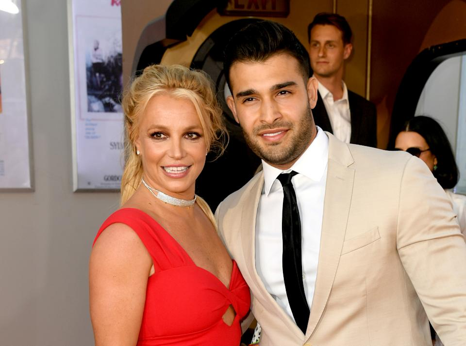 HOLLYWOOD, CALIFORNIA - JULY 22: Britney Spears (L) and Sam Asghari arrive at the premiere of Sony Pictures'