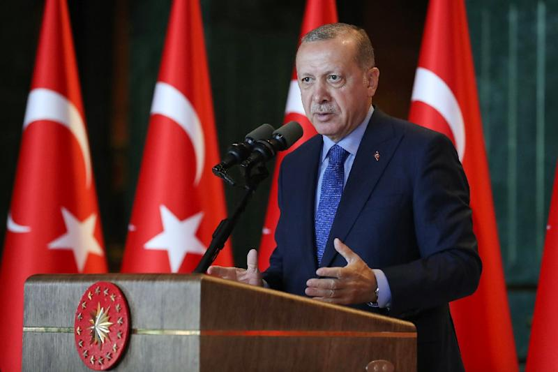 Turkish President Recep Tayyip Erdogan will travel to Iran to meet with his Russian and Iranian counterparts Vladimir Putin and Hassan Rouhani Turkish state television said