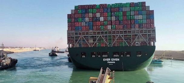 PHOTO: A picture taken on March 29, 2021 from a nearby tugboat in the Suez Canal shows a view of the Panama-flagged MV 'Ever Given' container ship as it begins to move. (AFP via Getty Images)