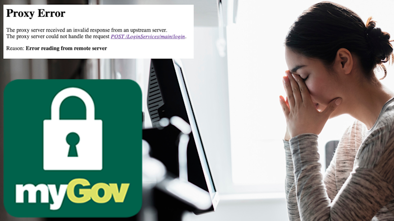 Pictured: myGov's proxy error warning after the site went down, a frustrated woman at her desk and the myGov logo. Images: Getty, myGov