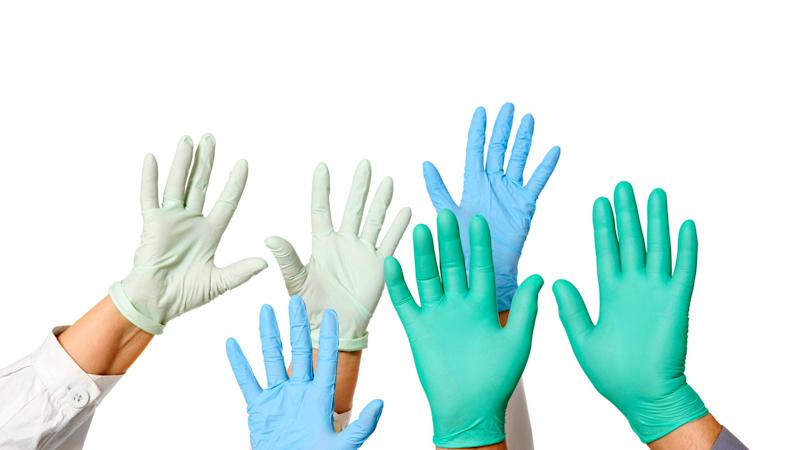 Surgical gloves can be useful while touching and disinfecting contaminated surfaces.