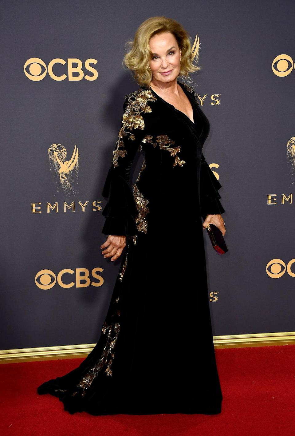 <p>Jessica Lange attends the 69th Annual Primetime Emmy Awards on September 17, 2017.<br> (Photo: Getty Images) </p>