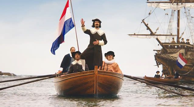 The Dutch, some of the first Europeans to sail to Australia, come to the party. Photo: Youtube/WeLoveOurLamb