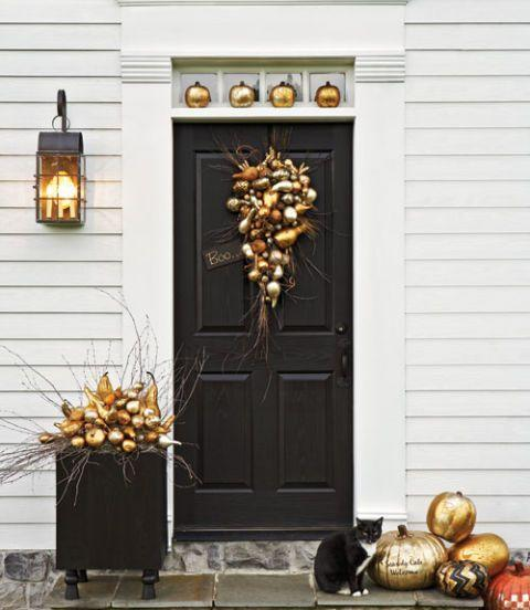 "<p>Don't wait until Christmas for glam decorations. These metallic pumpkins shine thanks to <a href=""https://www.amazon.com/dp/B002NQ7RZA?tag=syn-yahoo-20&ascsubtag=%5Bartid%7C10057.g.3650%5Bsrc%7Cyahoo-us"" rel=""nofollow noopener"" target=""_blank"" data-ylk=""slk:gold and silver leaf"" class=""link rapid-noclick-resp"">gold and silver leaf</a>. </p><p>Get the tutorial at <em><a href=""http://www.countryliving.com/diy-crafts/how-to/g616/how-to-guild-a-pumpkin/"" rel=""nofollow noopener"" target=""_blank"" data-ylk=""slk:Country Living"" class=""link rapid-noclick-resp"">Country Living</a>.</em></p>"