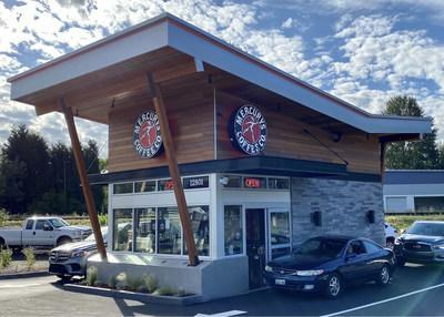 Mercurys Coffee's newest location in Woodinville, WA, with a two-lane drive-thru.
