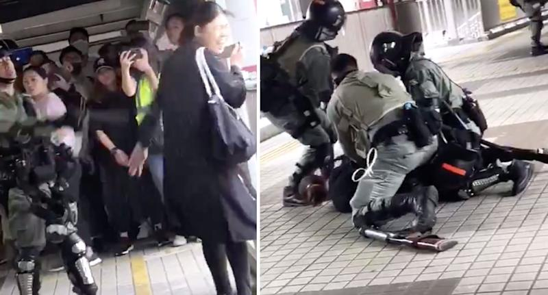 Female Hong Kong protester being pepper sprayed by police and wrestled to the ground.
