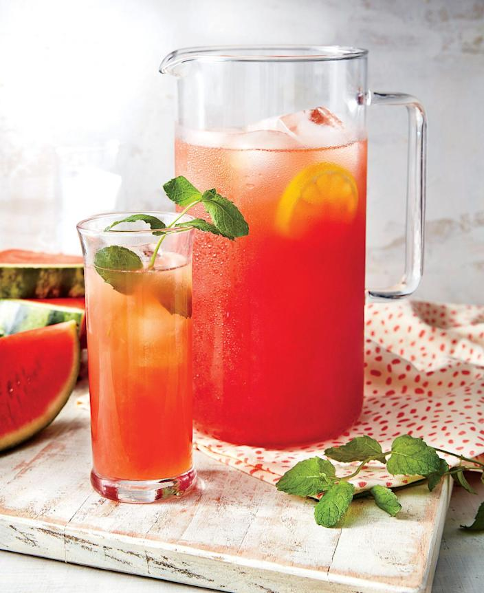 """<p><strong>Recipe: <a href=""""https://www.southernliving.com/recipes/spiked-watermelon-lemonade-recipe"""" rel=""""nofollow noopener"""" target=""""_blank"""" data-ylk=""""slk:Watermelon Lemonade"""" class=""""link rapid-noclick-resp"""">Watermelon Lemonade</a></strong></p> <p>If you're looking for a refreshing party drink that guests of all ages can enjoy, try this watermelon lemonade that can be served with or without vodka. </p>"""