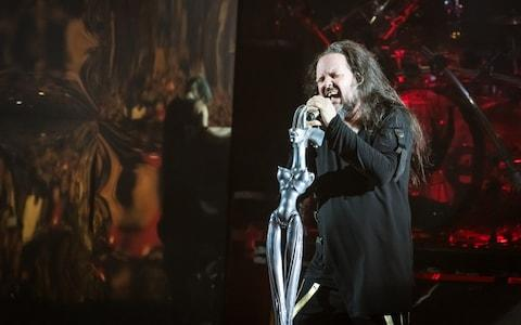Korn's Jonathan Davis with his HR Giger-design microphone  - Credit: getty