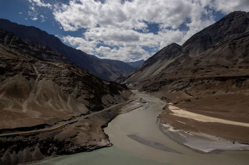 A highway getting constructed by Border Roads Organisation passes by the confluence of the Indus and Zanskhar rivers in the Ladakh region