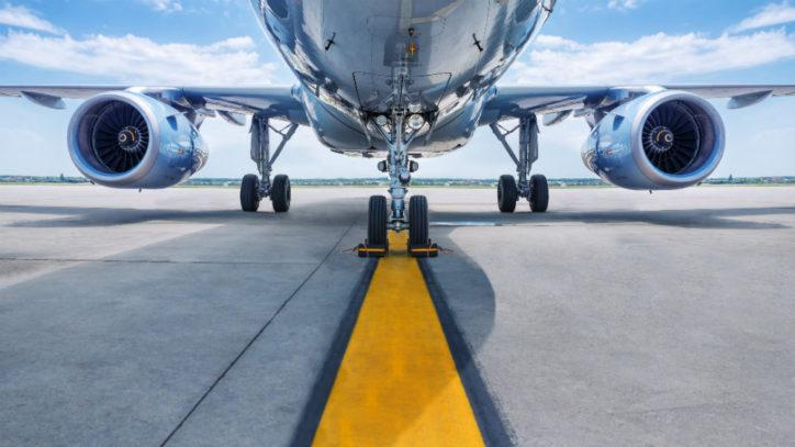 An airplace on a runway