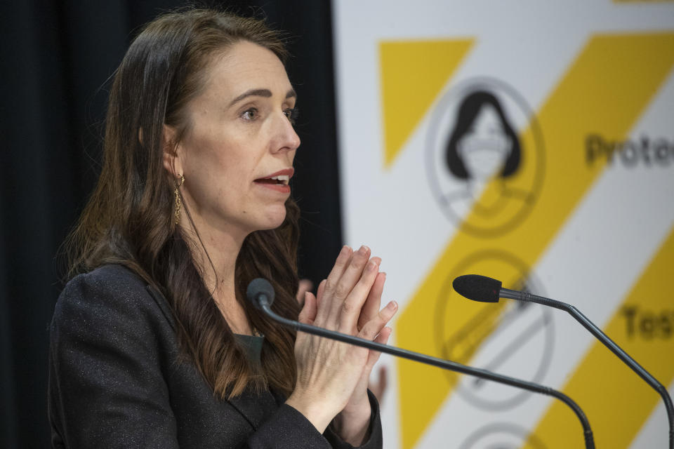 New Zealand Prime Minister Jacinda Ardern gestures during her COVID-19 response and vaccine update in Wellington, New Zealand, Thursday, Aug. 26, 2021.