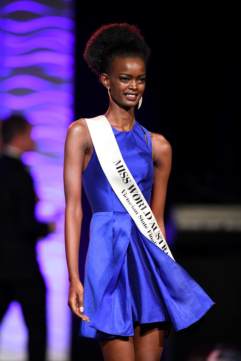 Adau Mornyang at the 2017 Miss World Australia National Final. Source: AAP