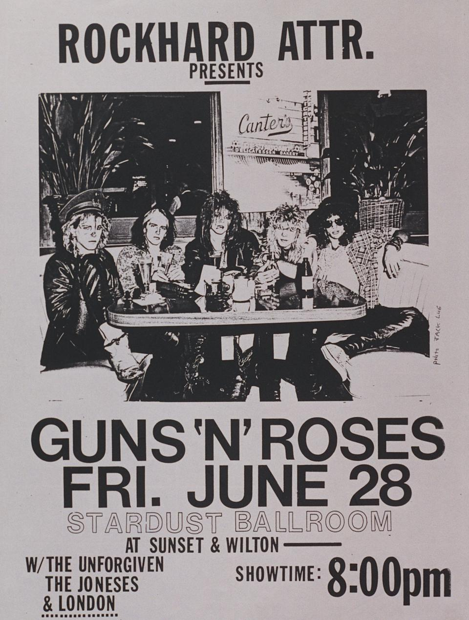 A flier from Guns N' Roses' early days. (Photo: Jack Lue and Marc S Canter/Michael Ochs Archives/Getty Images)