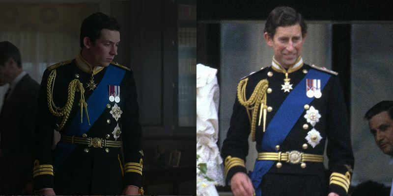 """<p>The Netflix showed stayed true to form when dressing Prince Charles for his 1981 nuptials. The Prince donned full military dress in his naval commander uniform for the big day, along with several important medals <a href=""""https://www.cbc.ca/news2/interactives/royal-annotations/"""" rel=""""nofollow noopener"""" target=""""_blank"""" data-ylk=""""slk:including the Queen's coronation medal"""" class=""""link rapid-noclick-resp"""">including the Queen's coronation medal</a>. </p>"""