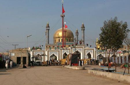 A deserted view of the tomb of Sufi saint Syed Usman Marwandi, also known as the Lal Shahbaz Qalandar shrine, after it was closed for general public following Thursday's suicide blast in Sehwan Sharif