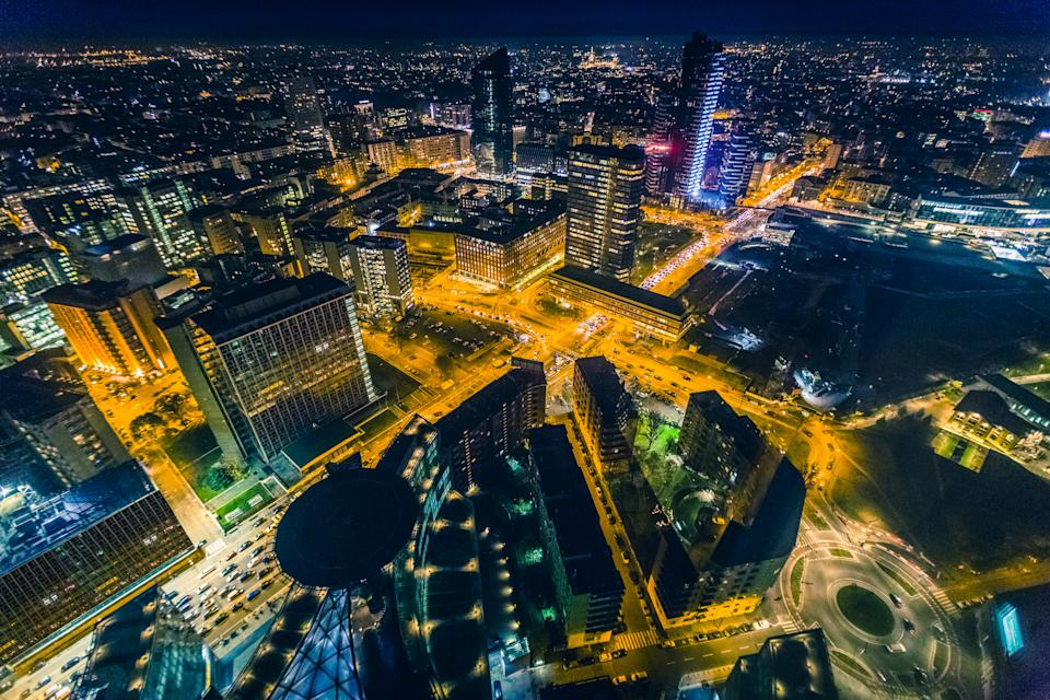 Financial district of Milan, top view of night.