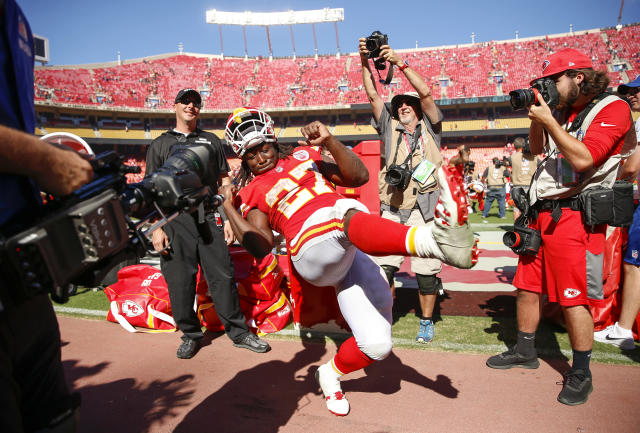 <p>Kareem Hunt #27 of the Kansas City Chiefs celebrates on the sidelines after a victory in the game against the San Francisco 49ers at Arrowhead Stadium on September 23rd, 2018 in Kansas City, Missouri. (Photo by David Eulitt/Getty Images) </p>