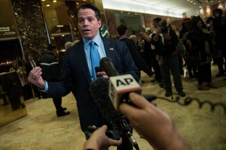 Anthony Scaramucci, founder of SkyBridge Capital, speaks to reporters at Trump Tower. (Photo: Drew Angerer/Getty Images)