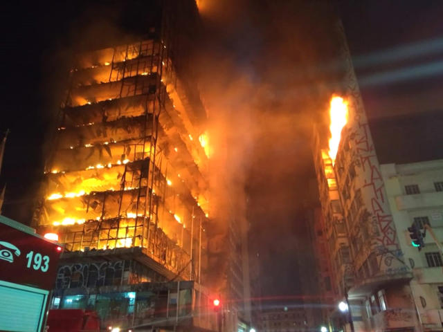 <p>In this photo released by Sao Paulo Fire Department, a building on fire is seen in Sao Paulo, Brazil, Tuesday, May 1, 2018. A burning building in downtown Sao Paulo has collapsed as firefighters worked to put out a fire that began in the middle of the night. (Sao Paulo Fire Department via AP) </p>