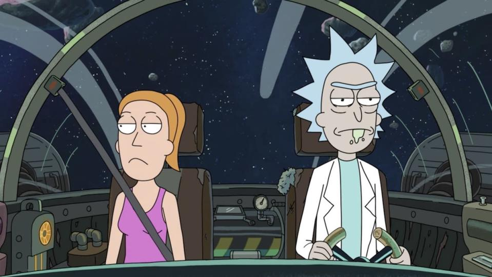 Summer and Rick are both angry in his ship flying through space
