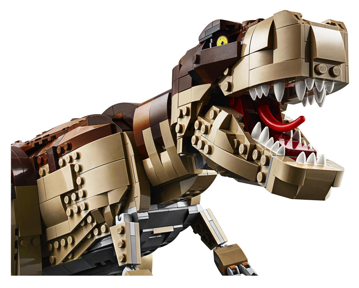 The brick-built T. rex features snapping jaws, a posable head, arms, legs and tail.