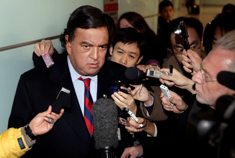 FILE PHOTO: U.S. diplomatic troubleshooter Bill Richardson speaks to the media in Beijing