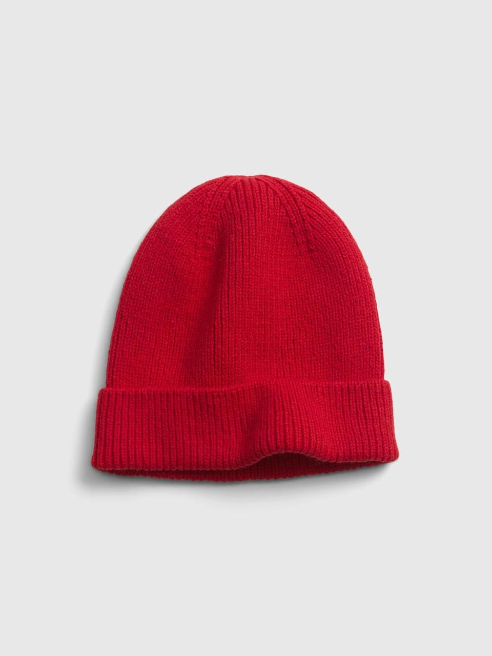 <p>Or try this red <span>Gap Rib Beanie</span> ($17, originally $20) for a great deal!</p>
