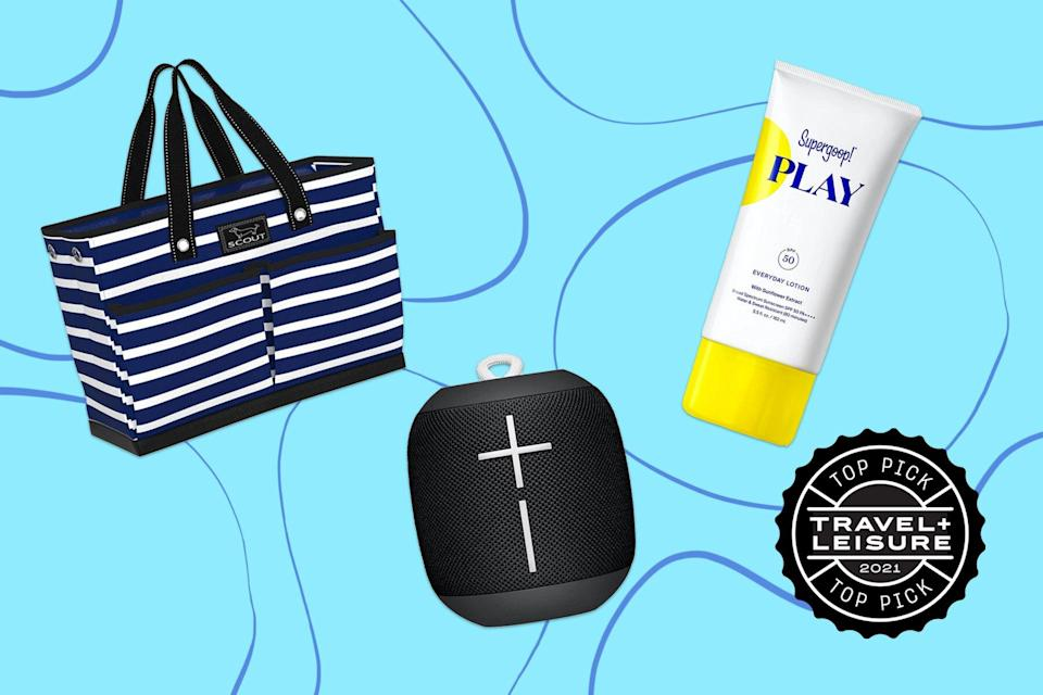 Beach tote, bluetooth speaker, and sunscreen