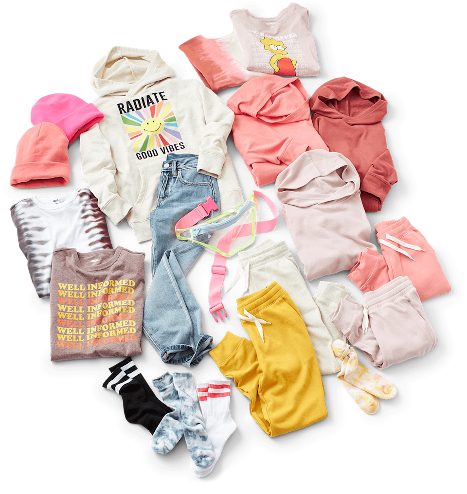 """<p>""""Our girls are excited about wearing more comfortable clothes, and our new <span>POPSUGAR x Old Navy Collection</span> ($10-35) is perfect for them to stock up on jogger and hoodie sets!"""" - LS</p>"""
