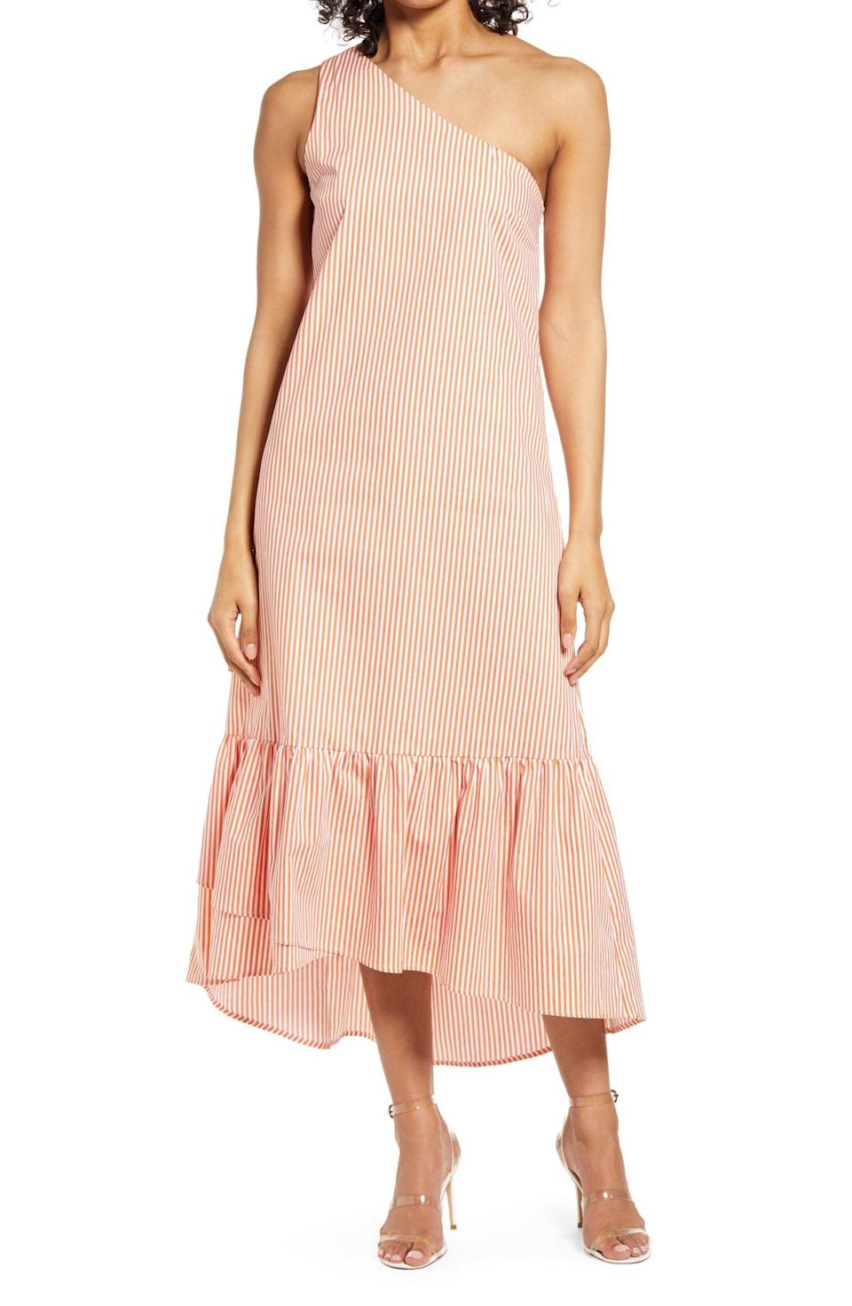 <p>This <span>Fourteenth Place Tiered One-Shoulder Dress</span> ($79) has a flattering and modern silhouette.</p>