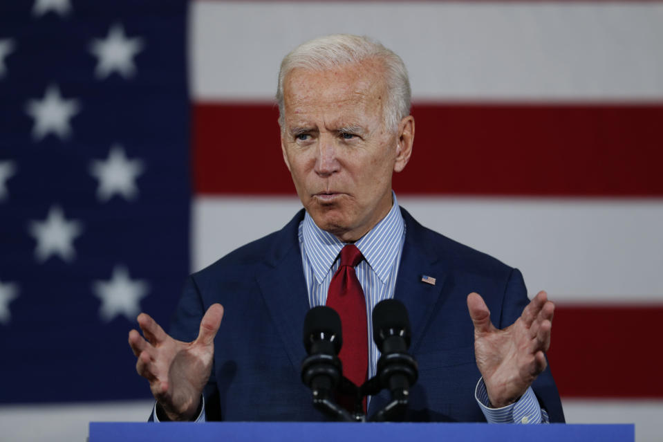 Democratic presidential candidate former Vice President Joe Biden speaks during a community event, Wednesday, Oct. 16, 2019, in Davenport, Iowa. (AP Photo/Charlie Neibergall)