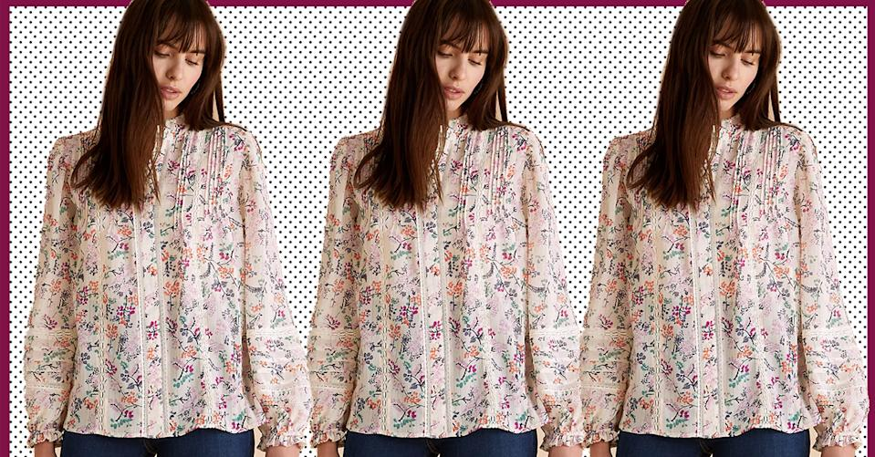 This gorgeous floral blouse is back in stock and a spring must-have. (Marks & Spencer)