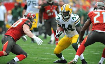 James Starks offers insurance in case Eddie Lacy goes down. (Photo by Cliff McBride/Getty Images)