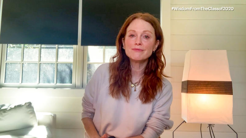 UNSPECIFIED - MAY 16: In this screengrab, Julianne Moore speaks during Graduate Together: America Honors the High School Class of 2020 on May 16, 2020. (Photo by Getty Images/Getty Images for EIF & XQ)
