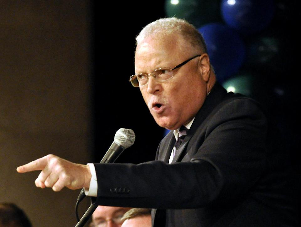 FILE - In this March 6, 2012 file photo AFSCME Secretary-Treasurer Lee A. Saunders speaks in Albany, N.Y. A heated battle is taking place inside the American Federation of State, County and Municipal Employees after its failed effort this week to oust Wisconsin Gov. Scott Walker. At stake is the future direction of the 1.3-million-member government workers union following the labor movement's biggest political loss in three decades. (AP Photo/Stewart Cairns, File)