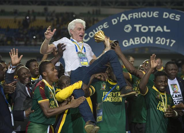 <p>LIBREVILLE, GABON – FEBRUARY 05: Cameroon Coach Hugo Broos celebrates winning the CAN 2017 FINAL between Egypt and Cameroon at Stade de L'Amitie on February 05, 2017 in Libreville, Gabon. (Photo by Visionhaus/Corbis via Getty Images) </p>