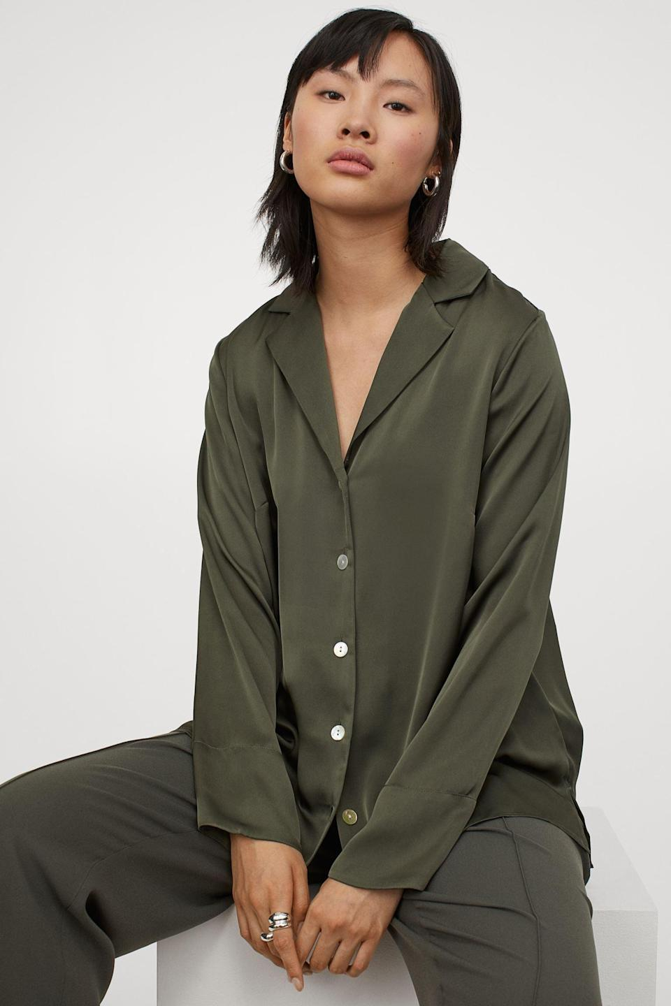 <p>This <span>Satin Shirt</span> ($30) will make for a stunning monochrome look when you pair it with matching trousers and some refined mules.</p>