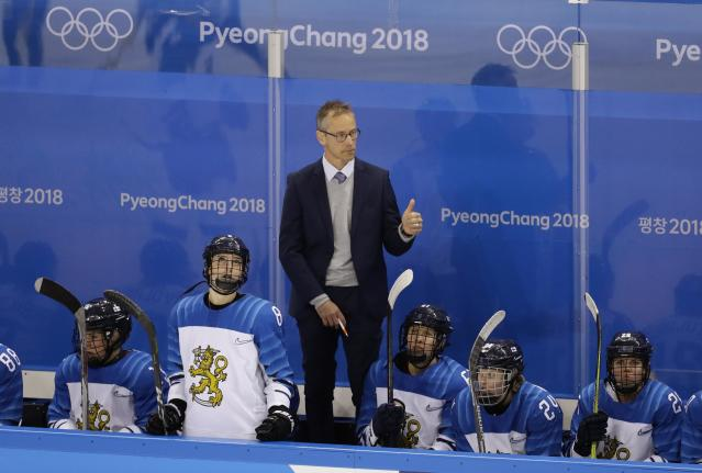 Ice Hockey - Pyeongchang 2018 Winter Olympics - Women's Quarterfinal Match - Finland v Sweden - Kwandong Hockey Centre, Gangneung, South Korea - February 17, 2018 - Finland head coach Pasi Mustonen gestures during a game against Sweden. REUTERS/David W Cerny