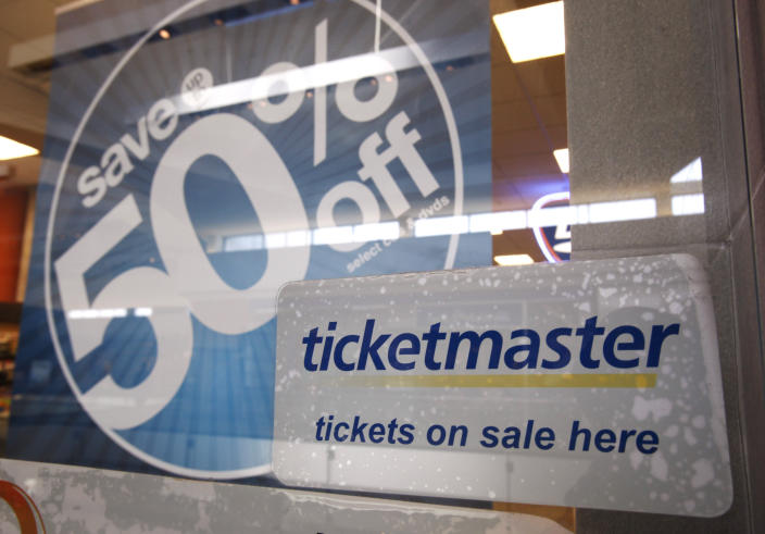 FILE - In this May 11, 2009, file photo, a Ticketmaster advertisement is posted at a Ticketmaster box office in San Jose, Calif. On Wednesday, Dec. 30, 2020, a federal judge in New York signed off on a deal that will allow Ticketmaster to pay a $10 million fine to escape prosecution over criminal charges accusing the company of hacking into the computer system of a startup rival. (AP Photo/Paul Sakuma, File)