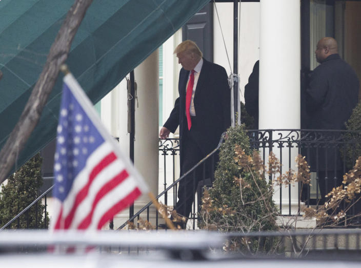 <p>President-elect Donald J. Trump departs Blair House to attend a church service at St. John's Episcopal Church on Inauguration Day on January 20, 2017 in Washington, DC. (Photo: Chris Kleponis – Pool/Getty Images) </p>