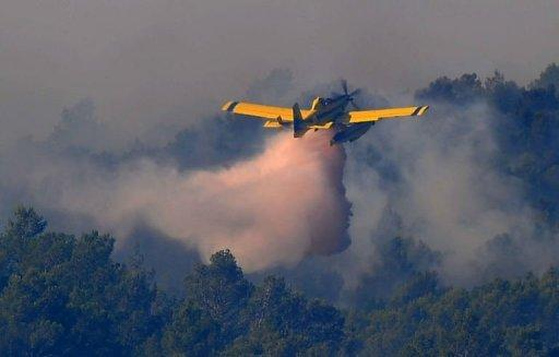 A wildfire destroys the forest on in Darnius near La Junquera (Girona), close to the Spanish-French border