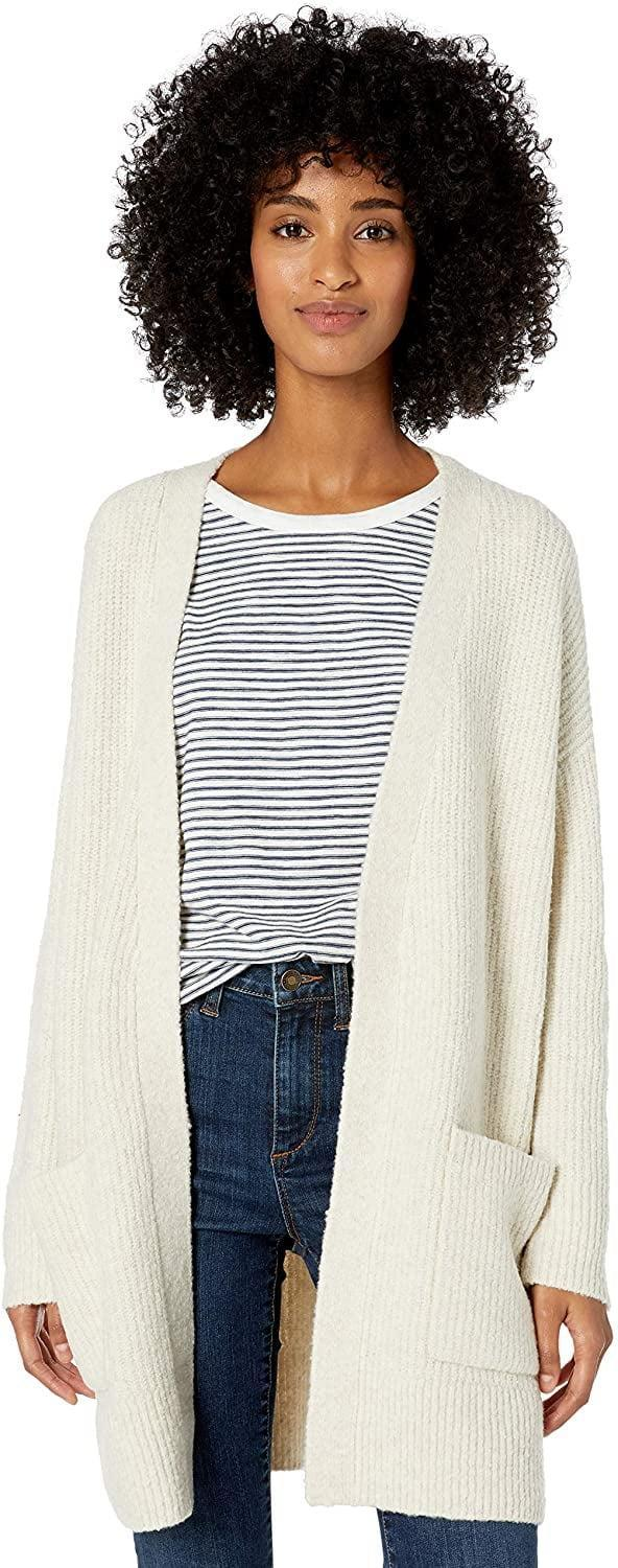 <p>This <span>Goodthreads Boucle Shaker Stitch Cardigan Sweater</span> ($20-$42) is always a good idea.</p>