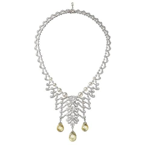 Cartier Ecume necklace in platinum with diamonds and Fancy Yellow briolette diamonds
